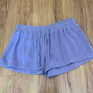 kismet Purple 100% Cotton Elastic Waist Shorts